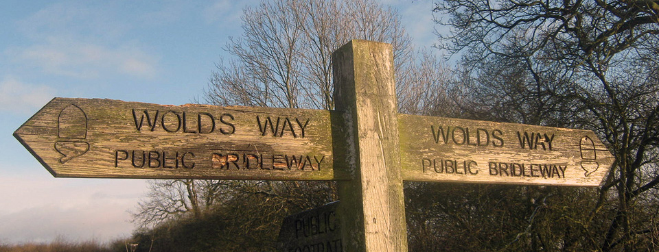 A sign of the Yorkshire Wolds Way